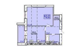 ЖК Рогатинський: планування 1-кімнатної квартири 49.5 м²