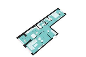 ЖК Royal Park: планування 2-кімнатної квартири 63.74 м²