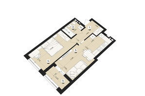 ЖК Royal Park: планування 1-кімнатної квартири 44.74 м²