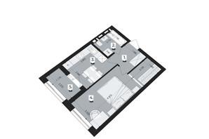 ЖК Royal Park: планування 1-кімнатної квартири 34.31 м²