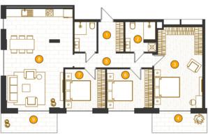 ЖК Royal Residence: планування 3-кімнатної квартири 104.5 м²