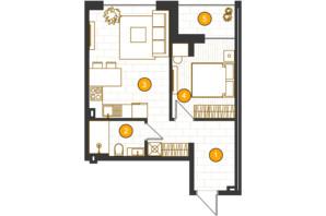 ЖК Royal Residence: планировка 1-комнатной квартиры 45.12 м²