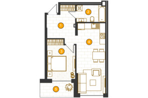 ЖК Royal Residence: планировка 1-комнатной квартиры 49.87 м²
