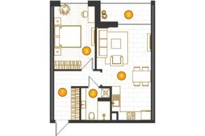 ЖК Royal Residence: планировка 1-комнатной квартиры 55.31 м²