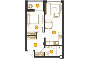 ЖК Royal Residence: планировка 1-комнатной квартиры 52.18 м²