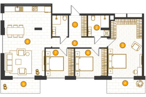 ЖК Royal Residence: планировка 3-комнатной квартиры 104.5 м²