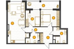 ЖК Royal Residence: планировка 2-комнатной квартиры 86.03 м²