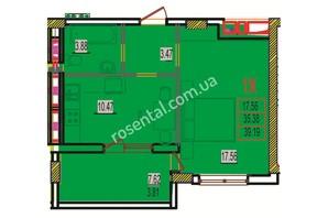 ЖК Розенталь: планировка 1-комнатной квартиры 39.98 м²