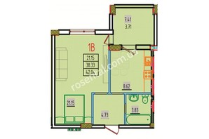 ЖК Розенталь: планировка 1-комнатной квартиры 42.92 м²