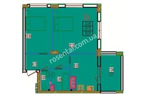 ЖК Розенталь: планировка 2-комнатной квартиры 62.32 м²
