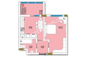 ЖК Розенталь: планировка 1-комнатной квартиры 35.44 м²