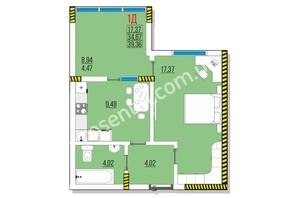 ЖК Розенталь: планировка 1-комнатной квартиры 39.36 м²