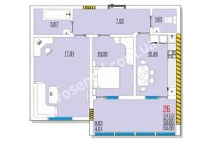 ЖК Розенталь: планировка 2-комнатной квартиры 56.06 м²