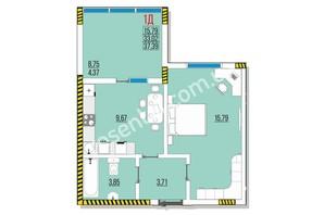 ЖК Розенталь: планировка 1-комнатной квартиры 37.39 м²