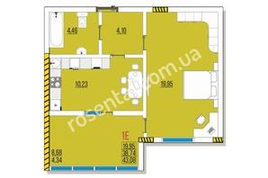 ЖК Розенталь: планировка 1-комнатной квартиры 43.08 м²