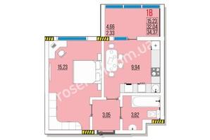 ЖК Розенталь: планировка 1-комнатной квартиры 34.37 м²