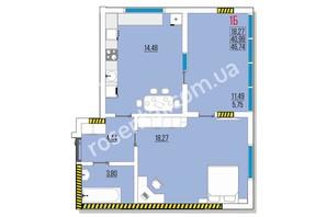 ЖК Розенталь: планировка 1-комнатной квартиры 47.45 м²