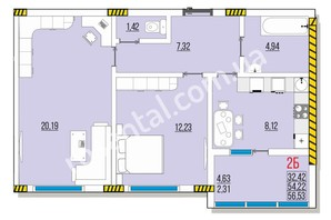 ЖК Розенталь: планировка 2-комнатной квартиры 37.23 м²