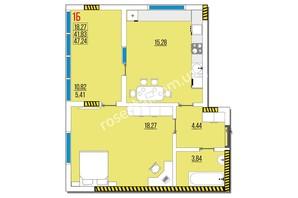 ЖК Розенталь: планировка 1-комнатной квартиры 47.24 м²