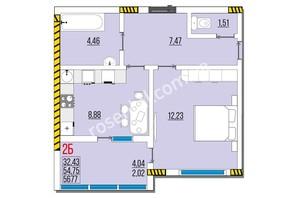 ЖК Розенталь: планировка 2-комнатной квартиры 56.77 м²