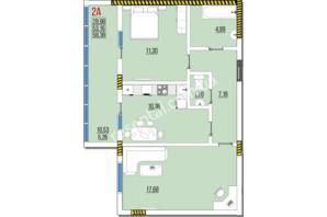 ЖК Розенталь: планировка 2-комнатной квартиры 58.38 м²