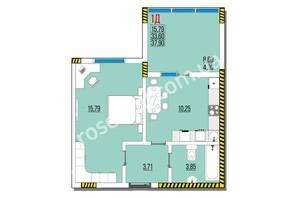 ЖК Розенталь: планировка 1-комнатной квартиры 37.9 м²