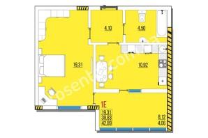 ЖК Розенталь: планировка 1-комнатной квартиры 42.89 м²