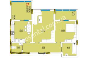ЖК Розенталь: планировка 2-комнатной квартиры 59.94 м²