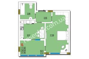 ЖК Розенталь: планировка 1-комнатной квартиры 37.95 м²
