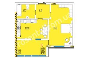 ЖК Розенталь: планировка 1-комнатной квартиры 42.98 м²