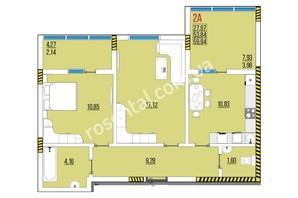 ЖК Розенталь: планировка 2-комнатной квартиры 60.53 м²