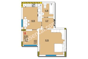ЖК Розенталь: планировка 1-комнатной квартиры 35.39 м²