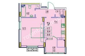 ЖК Розенталь: планировка 1-комнатной квартиры 39.56 м²