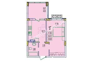 ЖК Розенталь: планировка 1-комнатной квартиры 39.34 м²