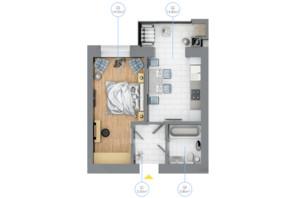 ЖК Rubicon City: планировка 1-комнатной квартиры 36.2 м²