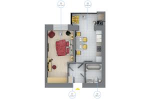 ЖК Rubicon City: планировка 1-комнатной квартиры 36.9 м²