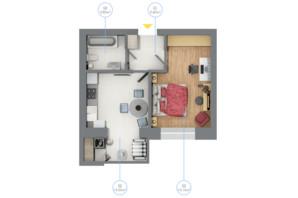 ЖК Rubicon City: планировка 1-комнатной квартиры 36.15 м²