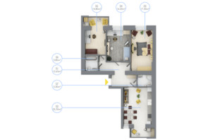 ЖК Rubicon City: планировка 3-комнатной квартиры 91.4 м²