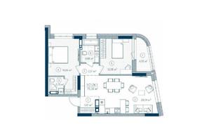 ЖК Rusaniv Residence: планировка 2-комнатной квартиры 75.36 м²