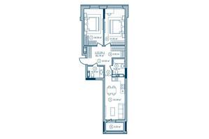 ЖК Rusaniv Residence: планировка 2-комнатной квартиры 82.65 м²