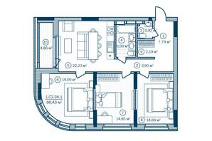 ЖК Rusaniv Residence: планировка 3-комнатной квартиры 96.43 м²