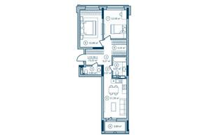 ЖК Rusaniv Residence: планировка 3-комнатной квартиры 73.19 м²