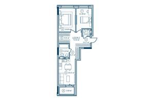 ЖК Rusaniv Residence: планировка 3-комнатной квартиры 72.85 м²