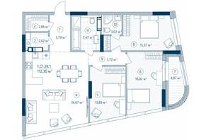 ЖК Rusaniv Residence: планировка 3-комнатной квартиры 112.3 м²