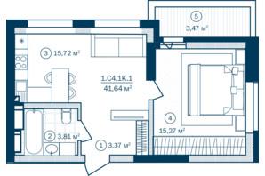 ЖК Rusaniv Residence: планировка 1-комнатной квартиры 41.97 м²