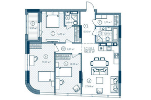 ЖК Rusaniv Residence: планировка 3-комнатной квартиры 100.12 м²