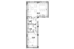 ЖК Риел Сити: планировка 1-комнатной квартиры 60.59 м²