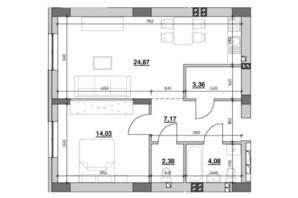 ЖК Риел Сити: планировка 1-комнатной квартиры 55.57 м²