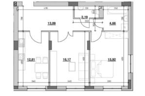 ЖК Риел Сити: планировка 2-комнатной квартиры 64.84 м²