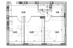 ЖК Риел Сити: планировка 2-комнатной квартиры 64.07 м²